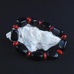zwart obsidiaan en rood Jaspis armband