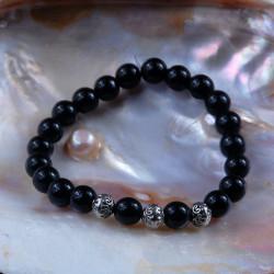 Zwart Obsidiaan met zilver armband